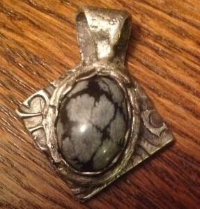 Silver Art Clay Pendant - Obsidian Snowflake