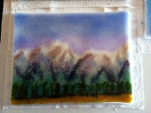Fused Glass Frit Mountain Painting