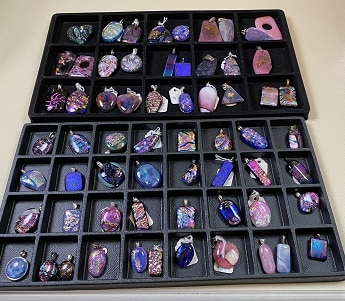 Fused Glass Purple Pendants