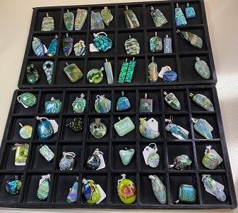 Green Fused Glass Pendants