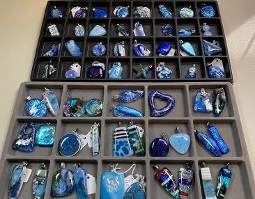 Blue Fused Glass Pendants