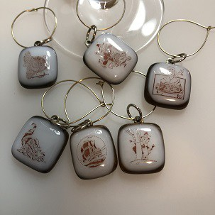 Fused glass wine glass charms