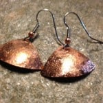 Handcrafted textured copper earrings