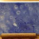 Fused Glass Sandblasted Asian scene