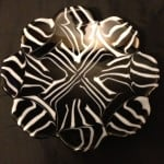 Fused Glass black and white pattern flow bowl.