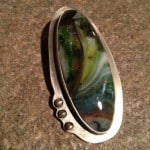 Handcrafted Patined Sterling Silver and Fused Glass Pendant