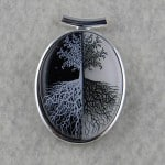 Black and White Tree of Life Fused Glass Pendant