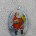 Large Christmas Ornament with Ceramic Santa Decal
