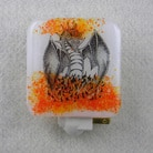 Fused Glass Nightlight with Ceramic Dragon Decal