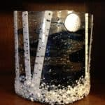My amazing Fused Glass Winter Aspen Mantel Sconce that I created for a very dear friend