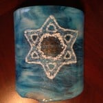 Fused Glass Star of David Sconce