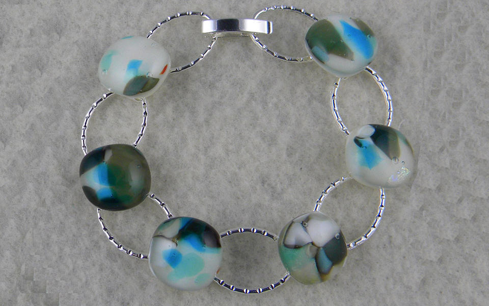 Fused glass link bracelet