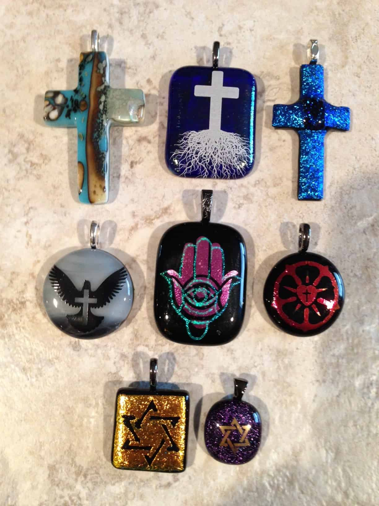 Various Religious Fused Glass Pendants