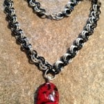 red black silver chainmaille