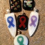 Fused Glass April Awareness Ribbons & Puzzle