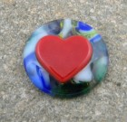 Fused Glass Poker Guard – Blue, Green, White with a Red Heart fused on top