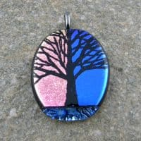 Fused Glass Pendant - Hand etched dichroic Tree