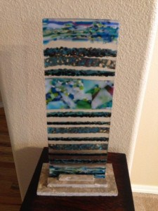 Back of Fused Glass Pebble Tower