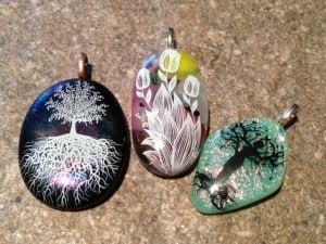 Mother's Day Fused Glass Pendants