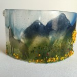 Fused Glass mountain scene candle screen