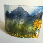 Fused glass candle screen