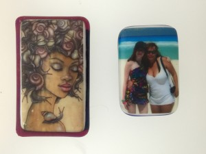 Custom color decals on fused glass magnets