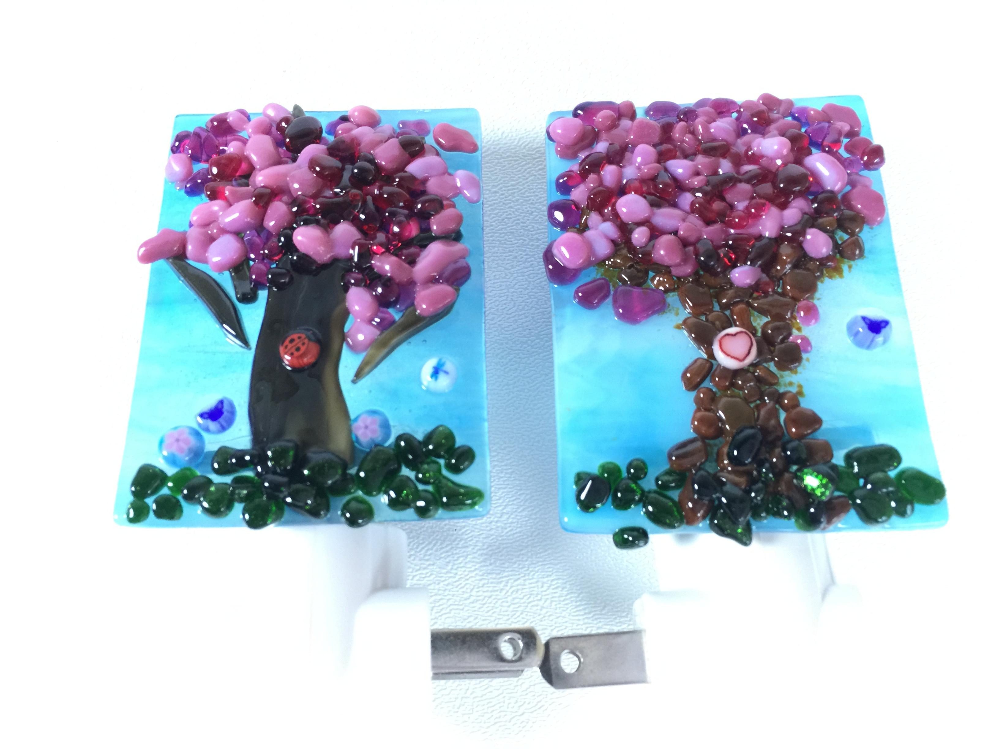 Fused Glass Cherry Blossom Tree Night Lights