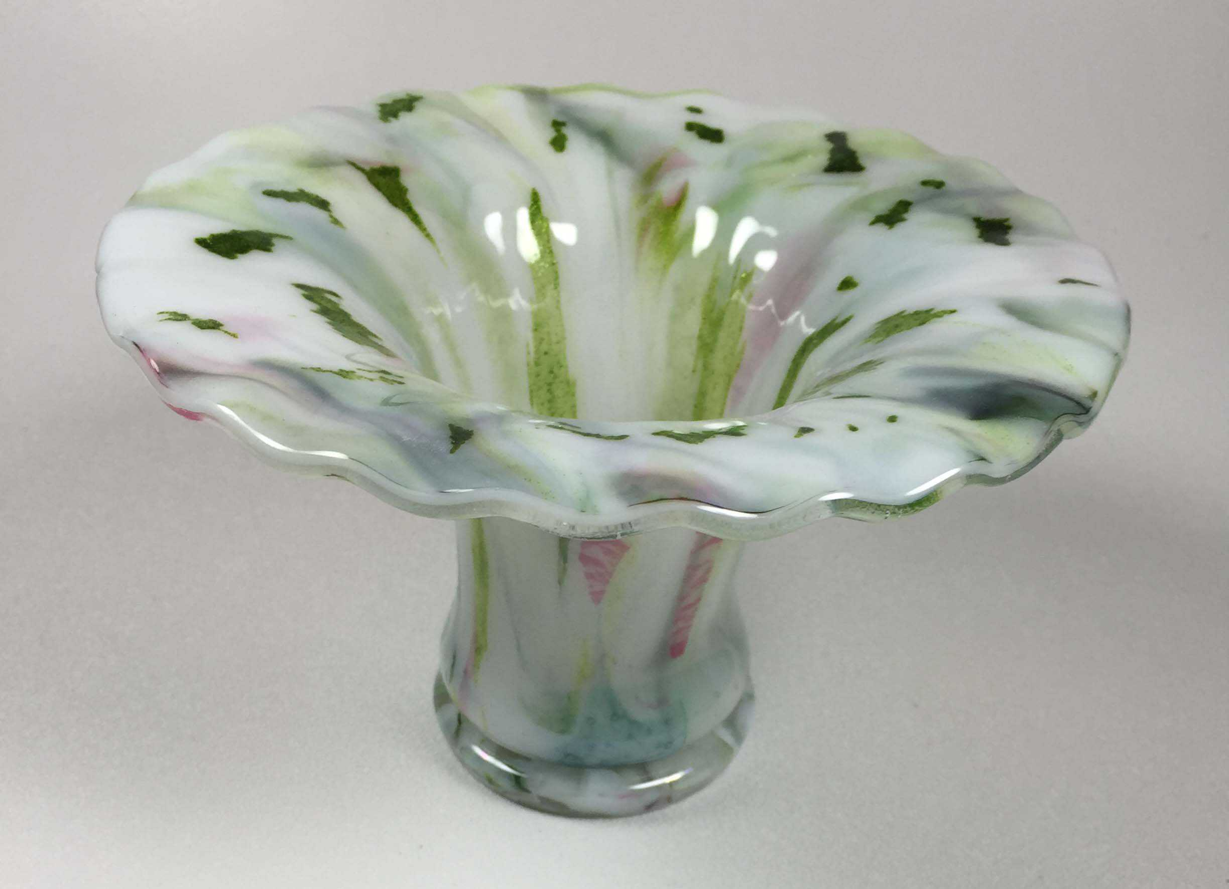 Fused Glass Footed Vase