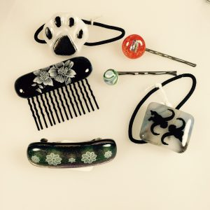 fused glass hair accessories