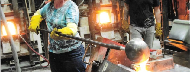 Casting glass at Bullseye Factory in Portland