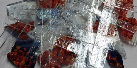 Picking up the Fused Glass pieces