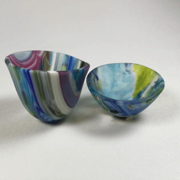Fused Glass Drop Vases