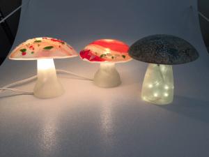 Fused Glass Mushroom lights for inside the house