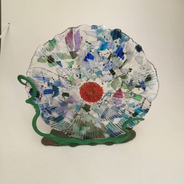 Fused Glass Art with Hand-painted Stands