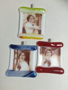 fused glass custom sepia ornaments