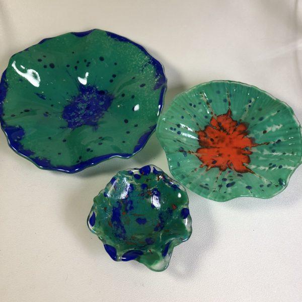 Fused Glass Flower Sculptures