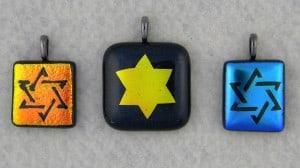 Handmade Star of David, Dichroic Fused Glass Pendants
