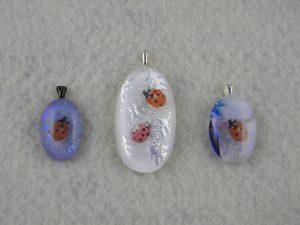 Handmade Ladybug, Dichroic Fused Glass Pendants