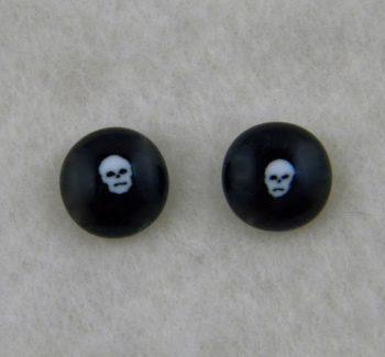 Handmade Fused Glass Skull Earrings - with a skull murrine