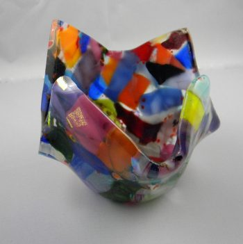 Handmade Fused Glass Multi-colored Candle Votive