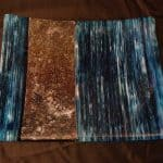 Fused Glass Egyptian Blue and iridized on edge platter.