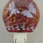 Fused Glass red iridized glass with AAE White Butterfly Decals Night Light