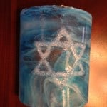 Fused Glass Star of David Sconce custom made for a good Friend.
