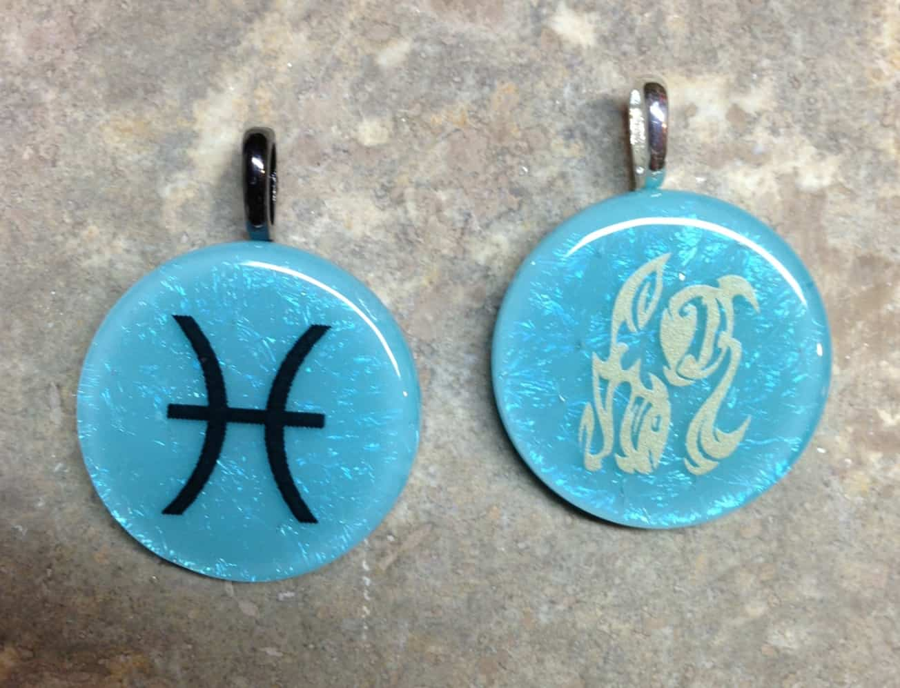 Available Fused Glass -  Zodiac Pisces Pendants