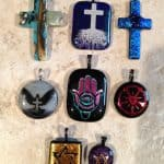 Fused Glass Religious Pendants (cross, Hamsa, Star of David, Luther's Rose, etc.)