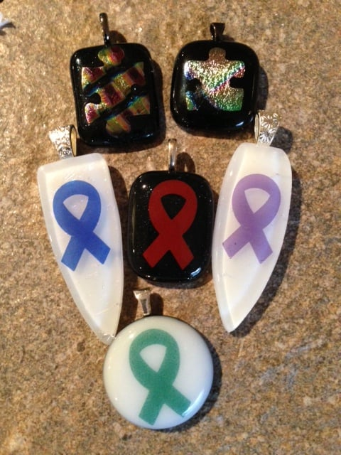 April's Fused Glass Awareness Pendants