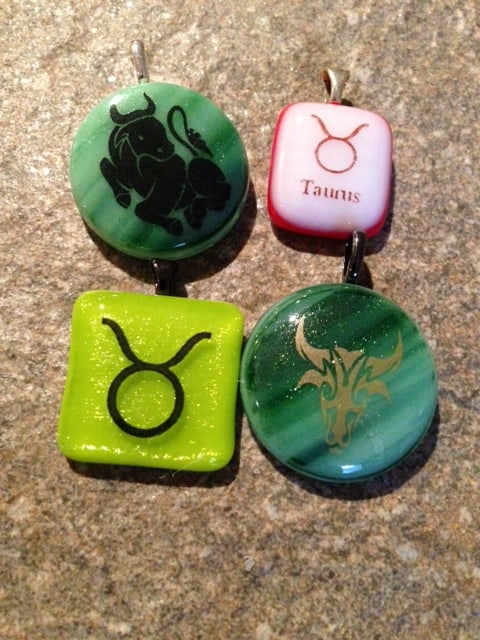 Fused Glass Taurus Pendants