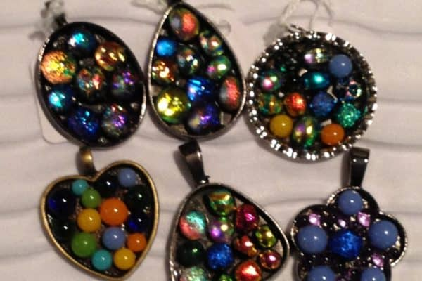 Fused Glass Pebble Pendants