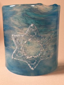 Fused Glass Star of David Mantel Sconce