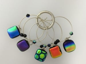 Fused Glass Wine charms